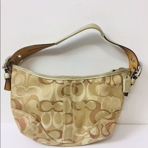 COACH LEATHER CANVASS HANDBAG No. A06S-0495